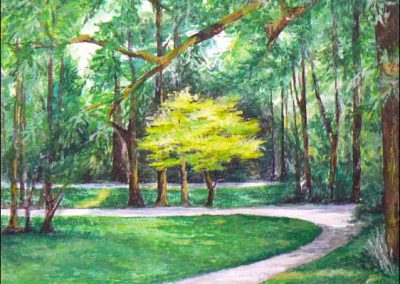 München-Greens (gouache on canvas) by Lesley Drummond