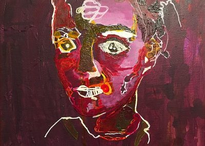 Glass Bead Games (Acrylic Expressionism Portrait) by Annie K. Burns