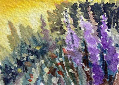 Larkspur Lane (watercolour sketch) by RoseMarie Condon
