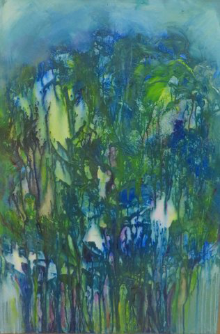 Blue Trees (acrylic and mixed media) by Joan Forsythe
