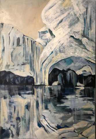 Glacial Caves - Antarctica (acrylic and mixed media) by Joan Forsythe