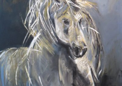 Horses in the Camargue (acrylic and mixed media) by Joan Forsythe