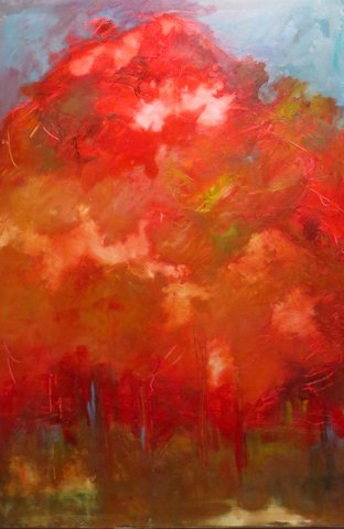 Red Trees (acrylic and mixed media) by Joan Forsythe