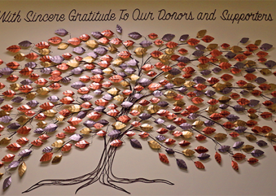 Community Care Donor Wall - Lindsay Ontario (metal sculpture) - Williams Design Studio