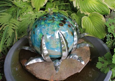 Glass Ball Fountain (glass, metal) by Williams Design Studio